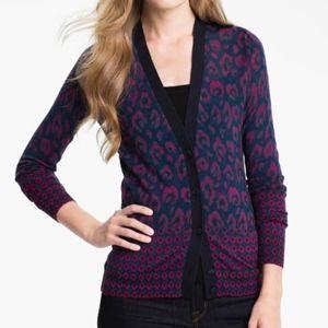 TORY BURCH Brady Printed Wool Sweater Cardigan M
